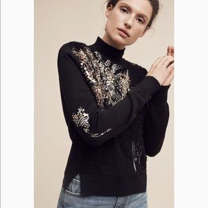 Anthropologie Knitted Knotted Beaded Fete Sweater